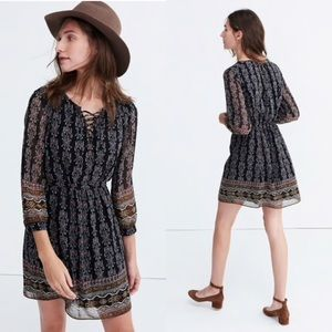 Madewell Lace-Up Dress - Burnished Floral